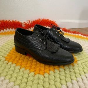Vintage Black Ariat Lace Up Western Oxford Shoes